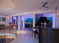 1974 Yamaha piano at St Lucia\'s Best Holiday Villa on Entertainment level with Views over Rodney Bay