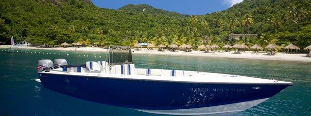 Akasha St Lucia Luxury Villa Rental, Caribbean Villa Rental, Boat Charter with St Lucia in Background