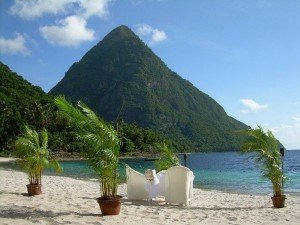 St Lucia Villa Rental, St Lucia Villas for Rent, Luxury Caribbean Villa Rental, Pitons as seen from the local beach